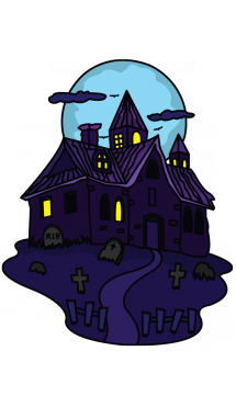 215x382 How To Draw A Haunted House For Kids, Easy Step By Step Drawing
