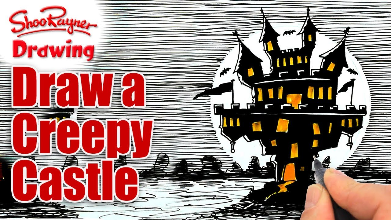 1280x720 How To Draw A Creepy Castle