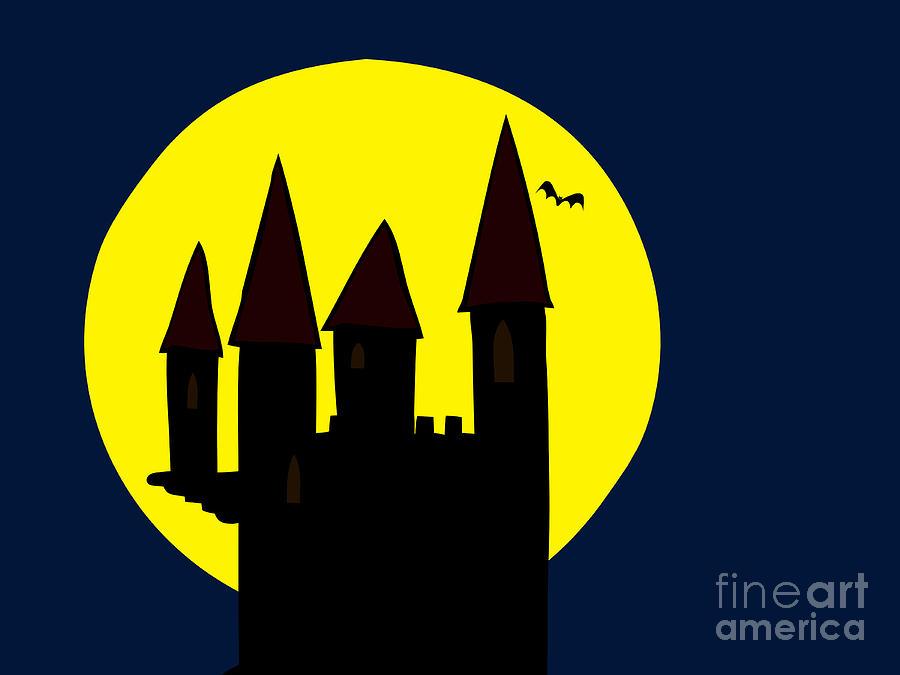 900x675 Old Haunted Castle In Full Moon Drawing By Michal Boubin