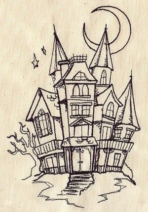 300x431 Spooky Haunted House Embroidered Flour Sack Handdish Towel