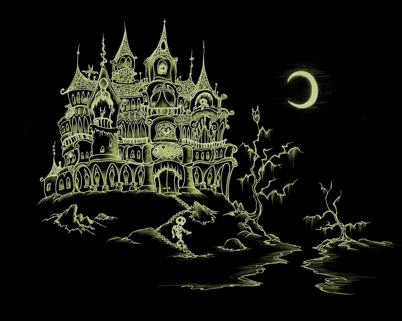 1280x1024 How To Draw A Haunted House