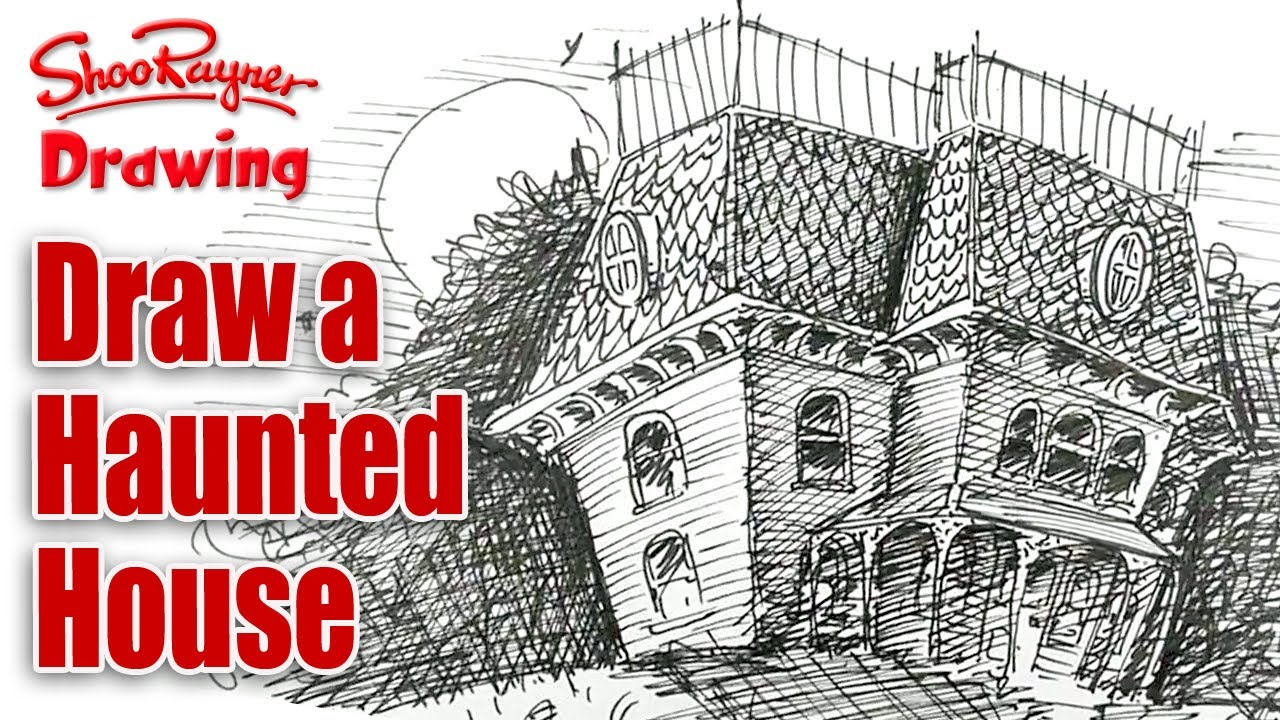 1280x720 Drawing A Haunted House How To Draw A Cartoon Haunted House