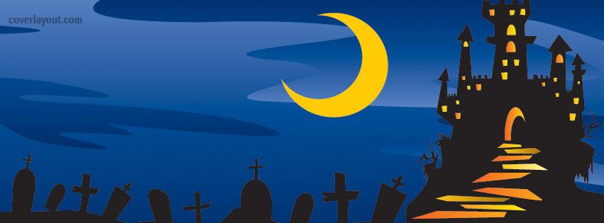 851x315 Halloween Cemetery Haunted House Facebook Cover, Halloween