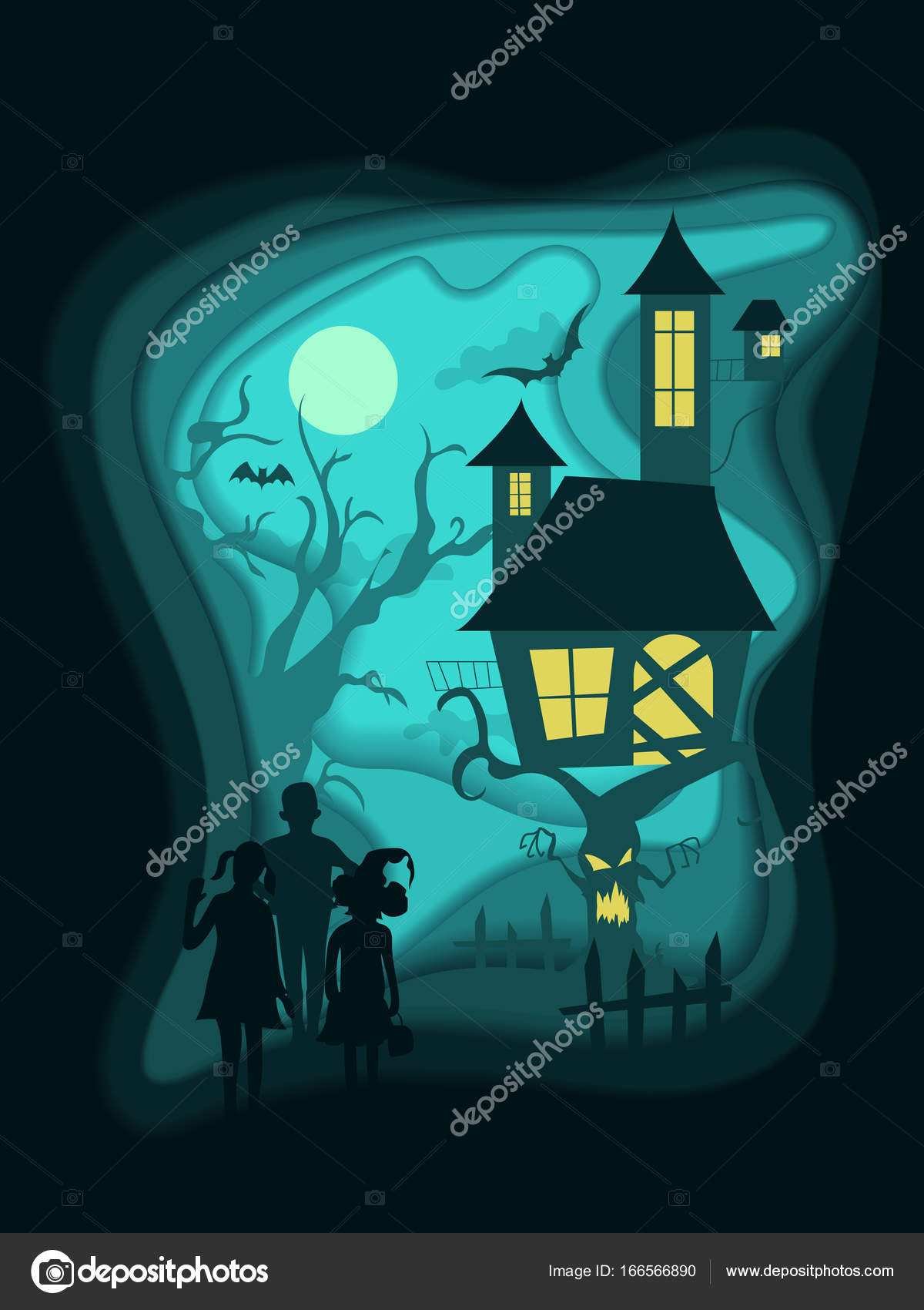 1200x1700 Halloween Night Background With Children, Haunted House On Scary