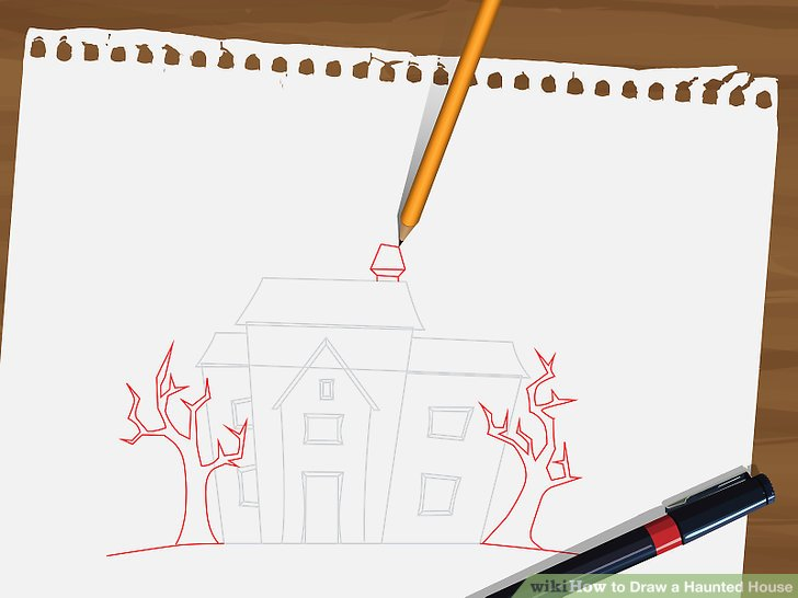 728x546 How To Draw A Haunted House 15 Steps (With Pictures)