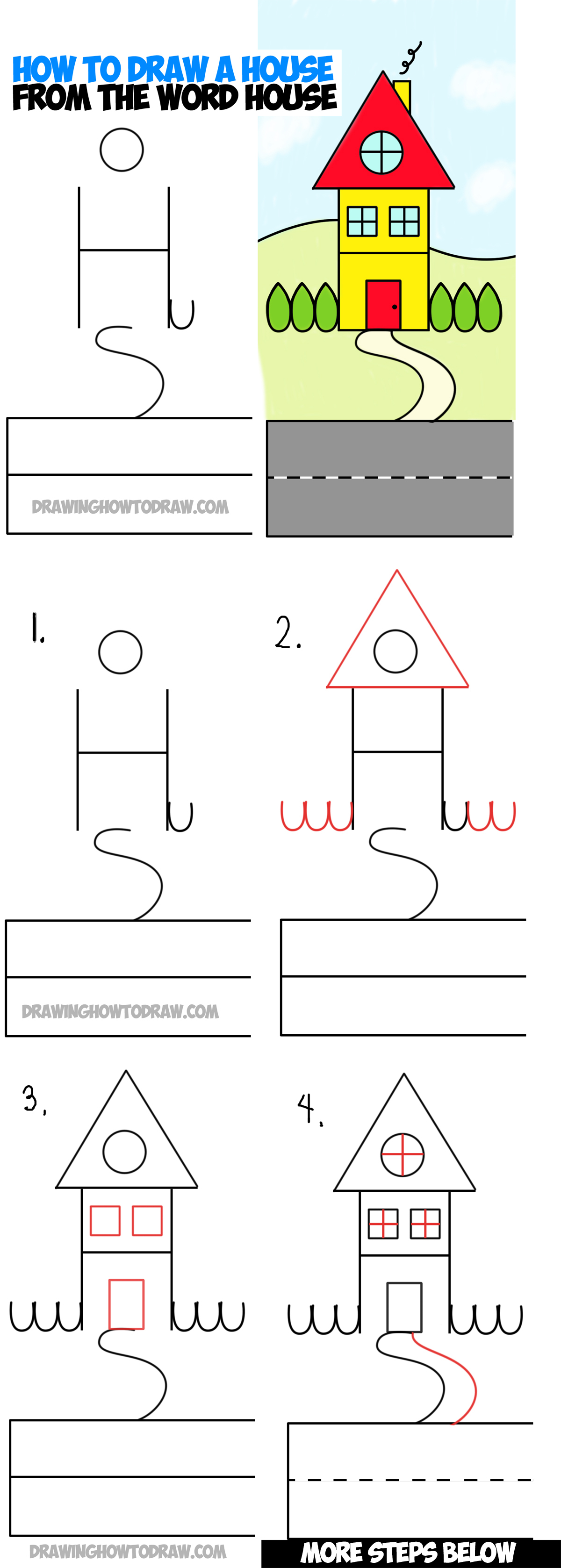 1200x3355 Tutorial Of House Drawing How To Draw A Haunted House
