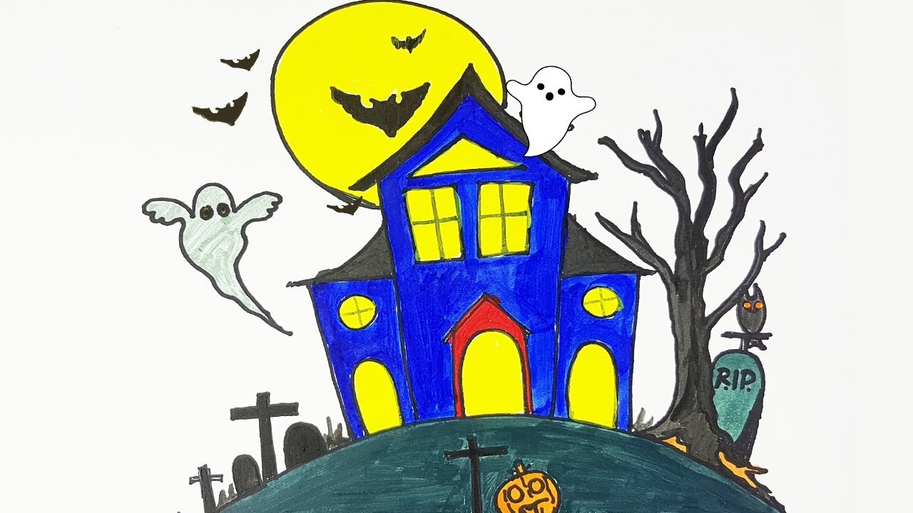 1280x720 Halloween Special Drawing A Haunted House How To Draw A Haunted