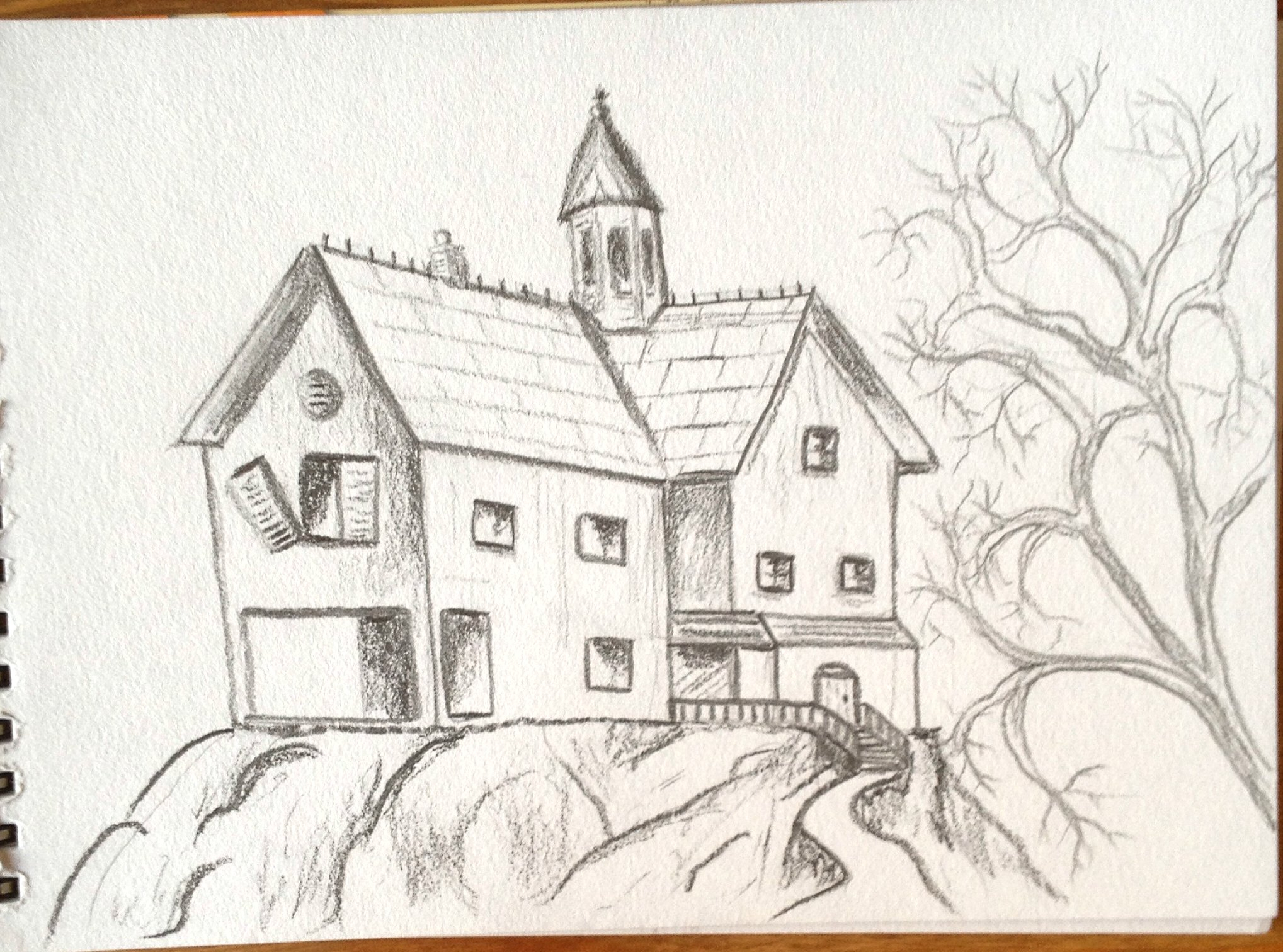 2037x1512 House Drawing Pencil Art Drawn Haunted House Pencil