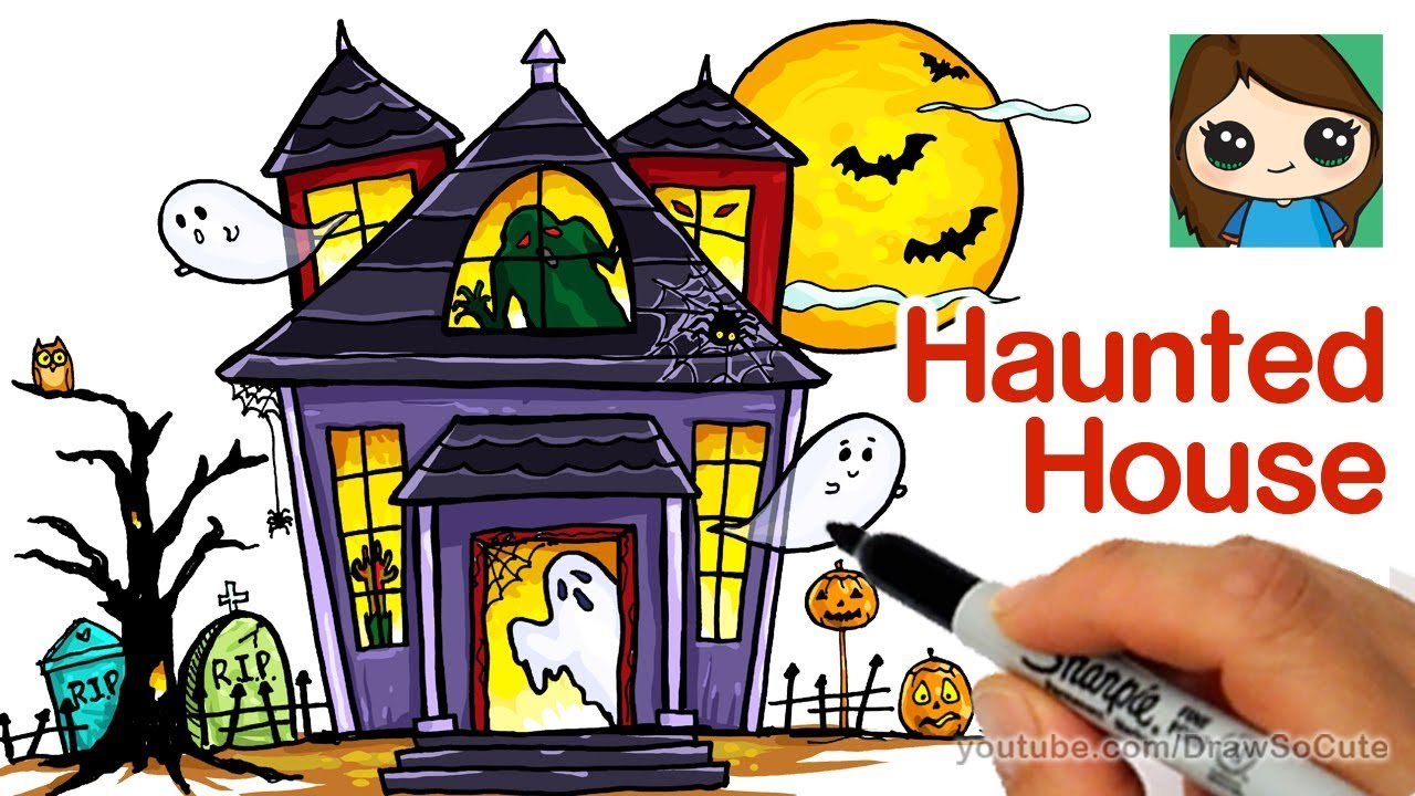 1280x720 How To Draw A Haunted House Easy