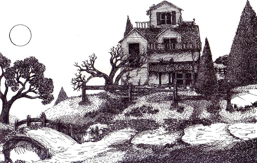 900x571 The Haunted House Drawing By Joella Reeder