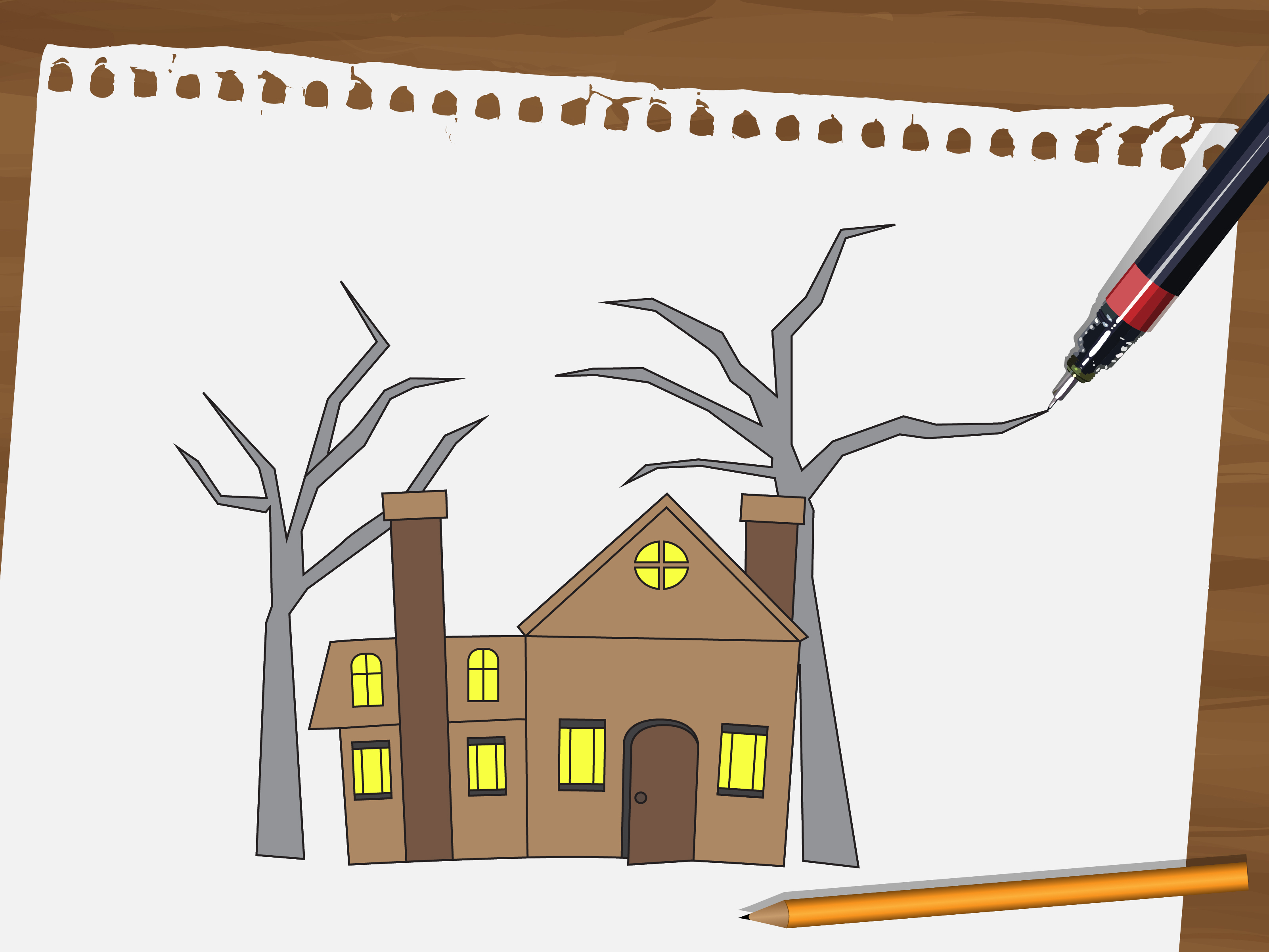 3201x2401 Drawing A Haunted House How To Draw A Haunted House, Stepstep