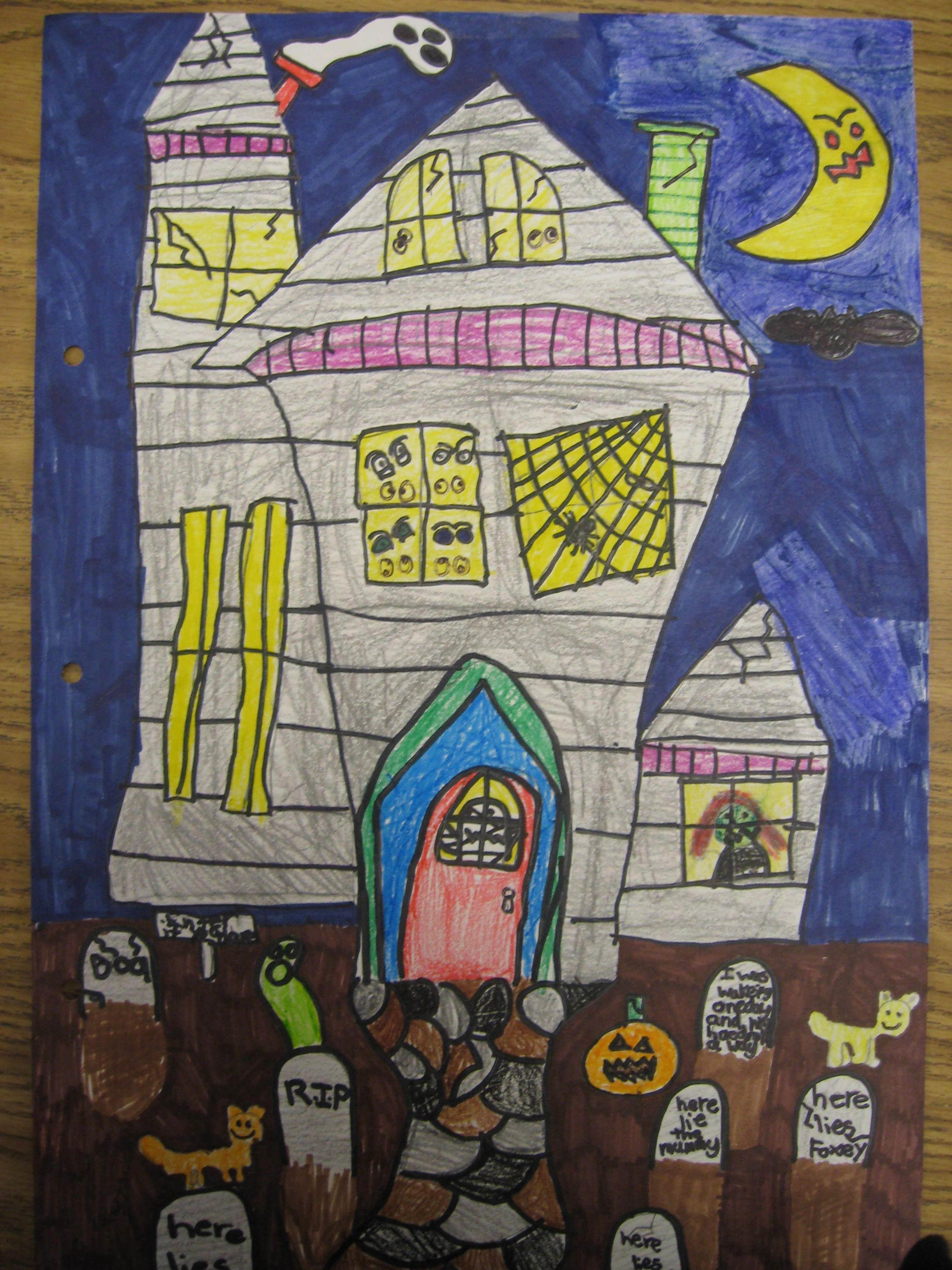 2304x3072 Haunted House Directed Draw Holiday Art And Games