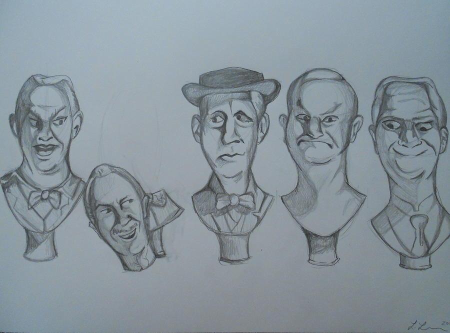900x666 Grim Grinning Ghosts Singing Busts Drawing By Lisa Leeman