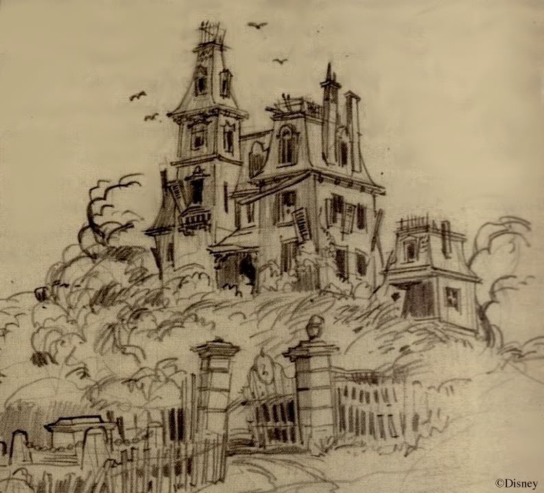 794x720 Harper Goff Haunted House Sketch Originally For A Residential