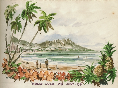 450x336 Drawing And Watercolor Of The Honolulu, Hawaii, During The Naga