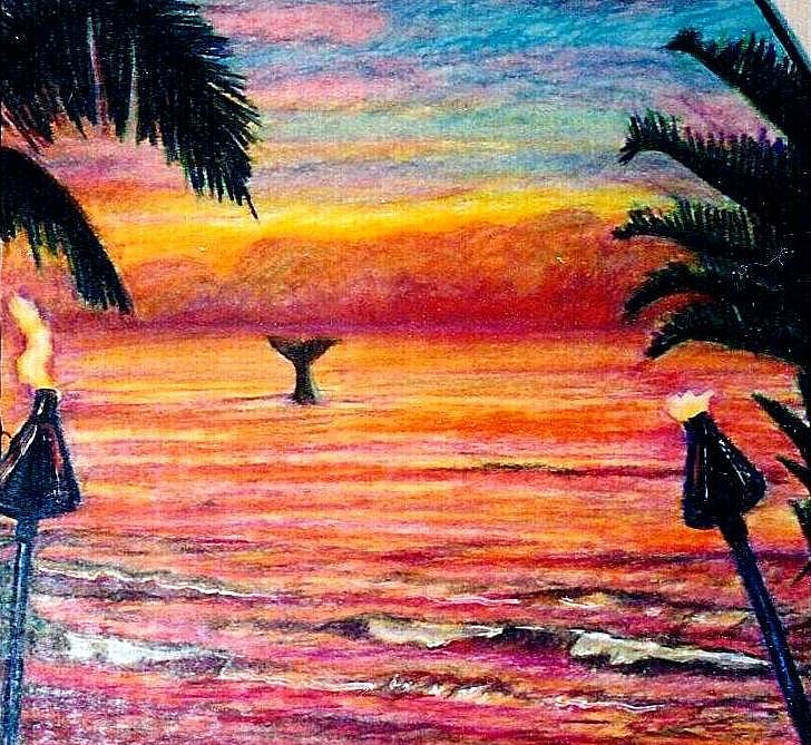 728x669 Hawaiian Sunset Drawing By Kimberly Simon