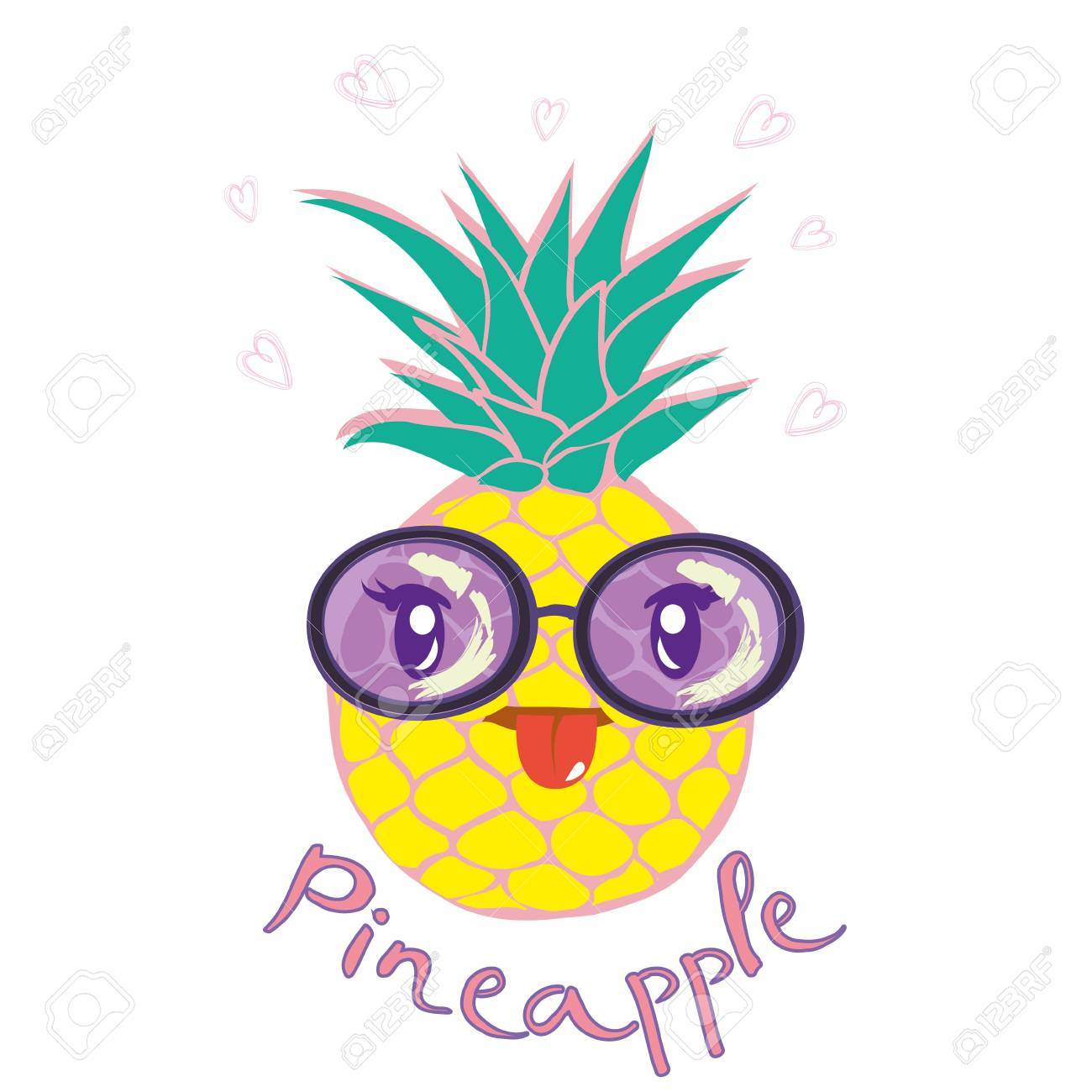 1300x1300 Illustration Nature Pineapple Summer Tropical Vector Drawing Fresh