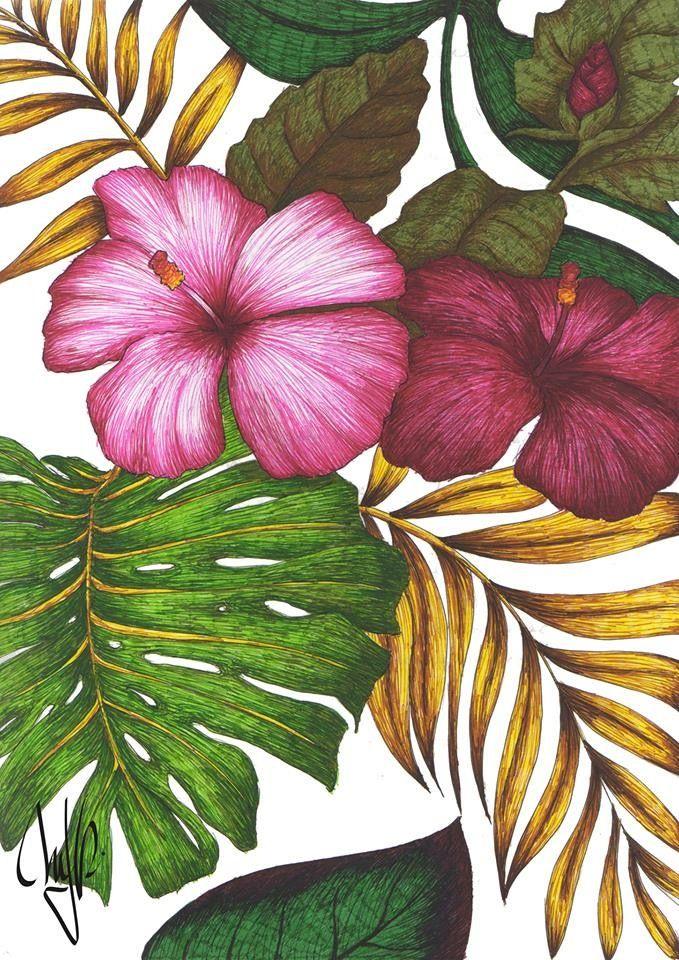 679x960 Aloha Hand Drawn Hawaian Flowers Staedtler Pens @mjrart Pink