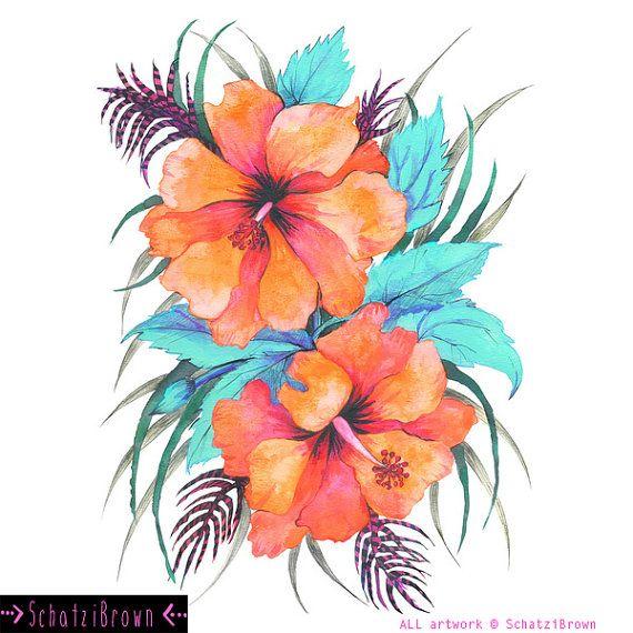 570x570 Orange Hibiscus Art Print By Schatzibrown By Schatzibrown