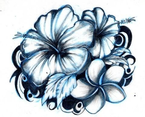 480x386 Hawaiian Flowers Tattoo Sample