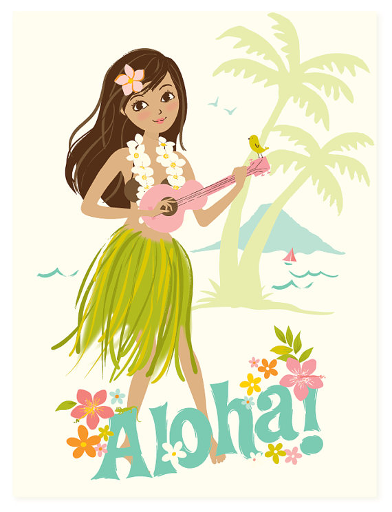 570x744 Hawaii Wall Art, Aloha, Hawaiian, Hula Girl