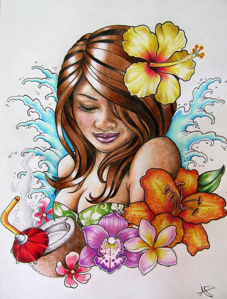 779x1026 Hawaiian Hula Girl Tattoo Design By Frosttattoo