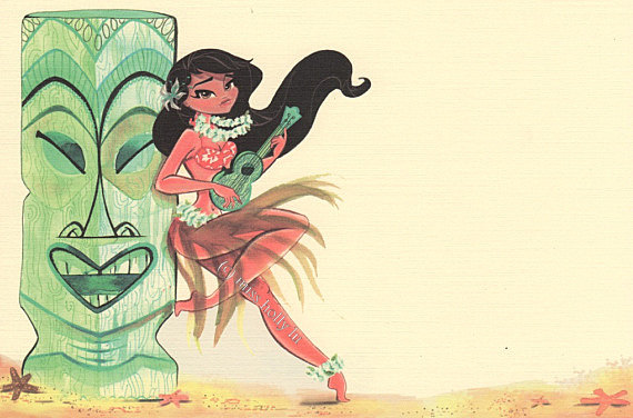 570x376 Luau Invitation Set Of 12, Hawaiian Theme Party, Hula Girl Plays