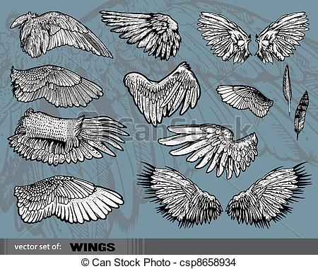 450x380 Wings Isolated On Gray Background Eps Vector