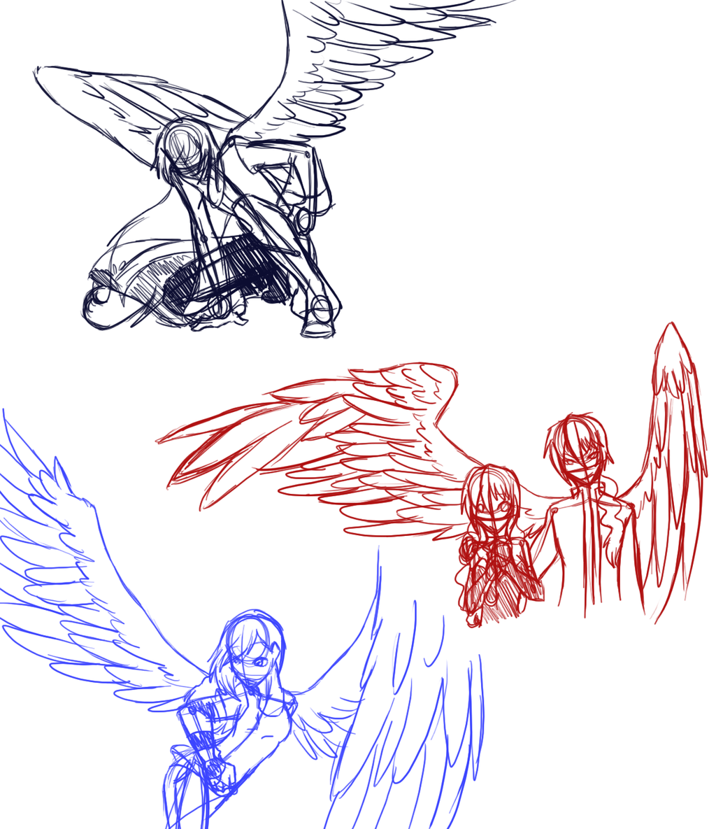 1024x1185 Winged Poses Anime People With Wings Drawings H.a. Sketch Dump
