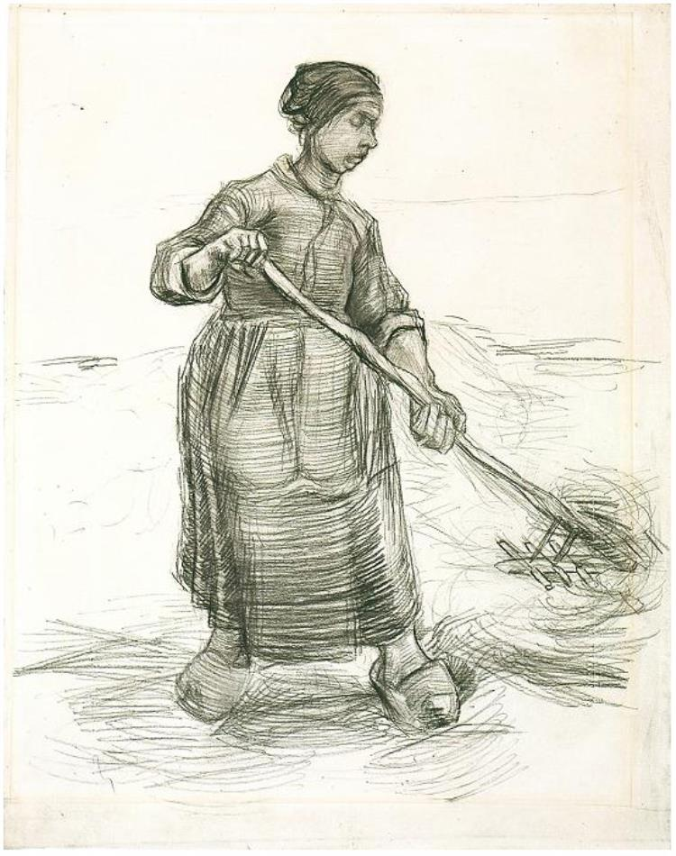 750x950 Peasant Woman, Pitching Wheat Or Hay By Vincent Van Gogh