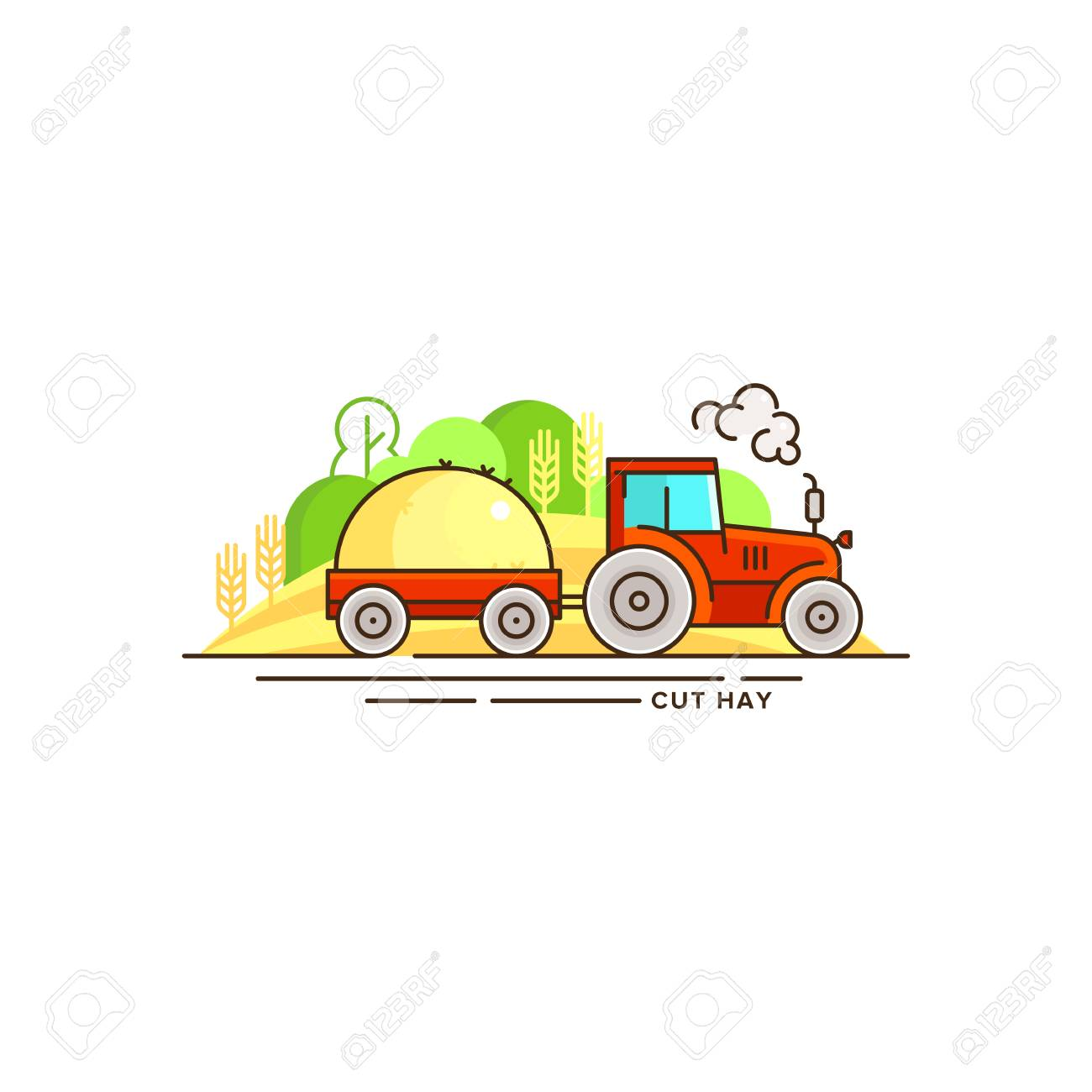 1300x1300 Tractor With Hay Flat Style Drawing. Royalty Free Cliparts
