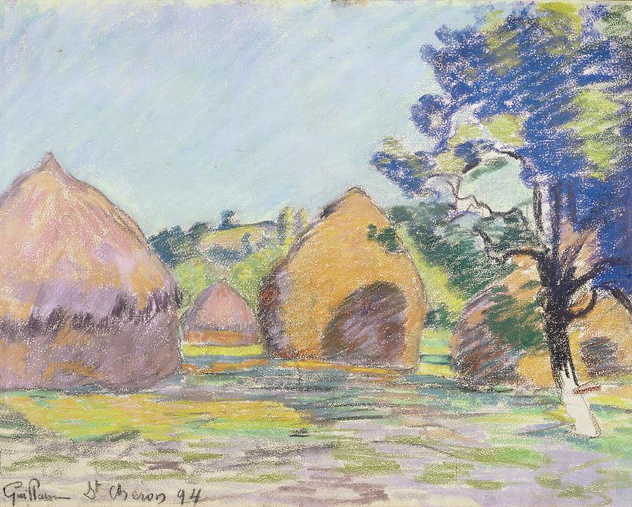 900x722 Haystacks At Saint Cheron Drawing By Jean Baptiste Armand Guillaumin