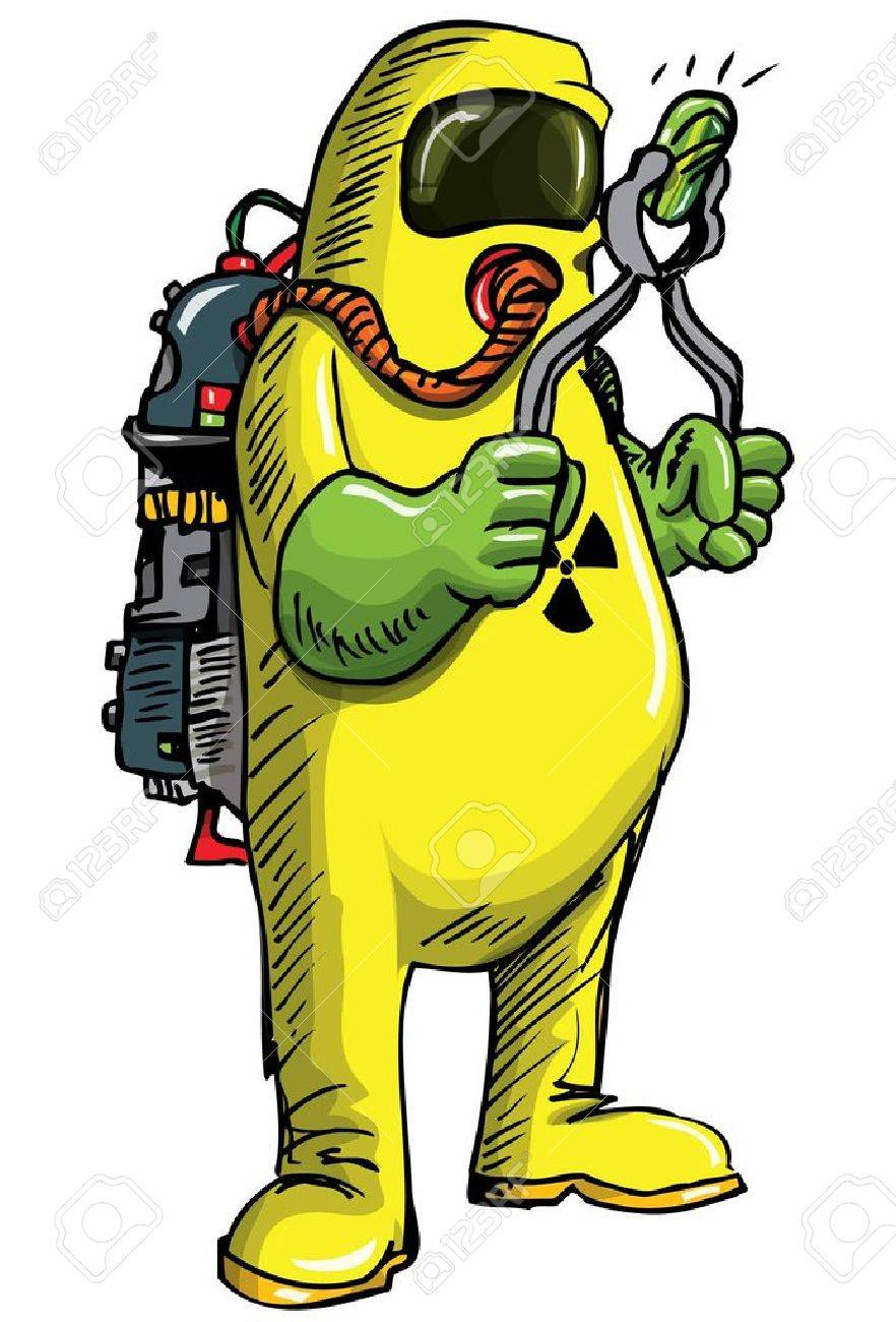 882x1300 Man In Hazmat Suit Handeling Something Radioactive. Isolated