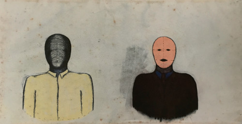 500x256 Two Figures (Head And Shoulders) Drawing John Davies