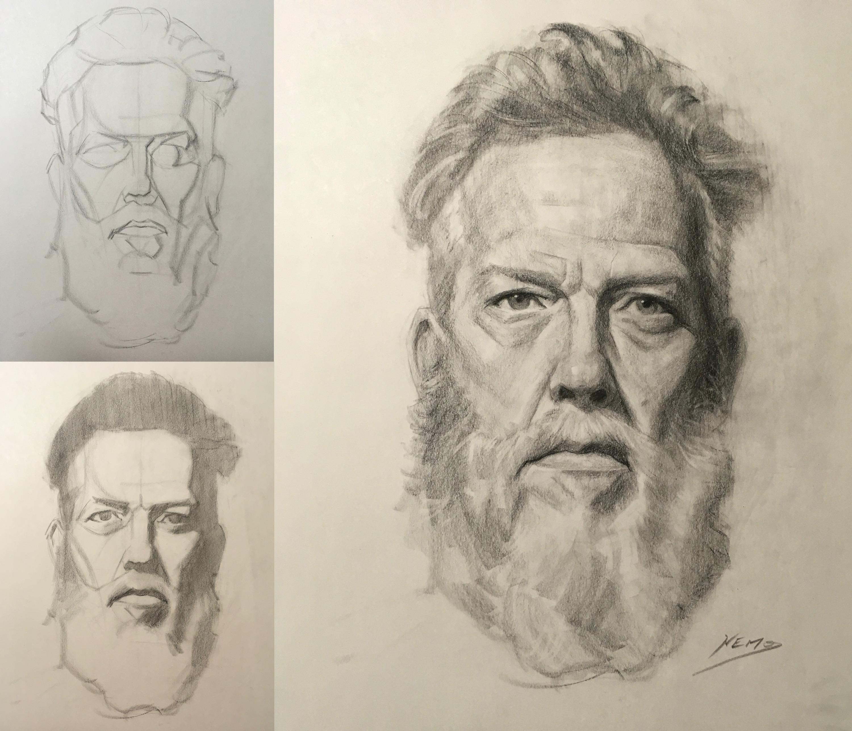 3000x2575 Head Drawing With Erik Gist, Week 3 Progress