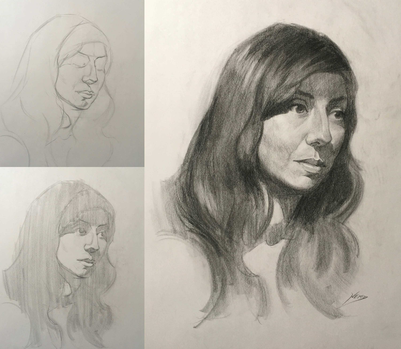 3000x2613 Head Drawing With Erik Gist, Week 4 Progress