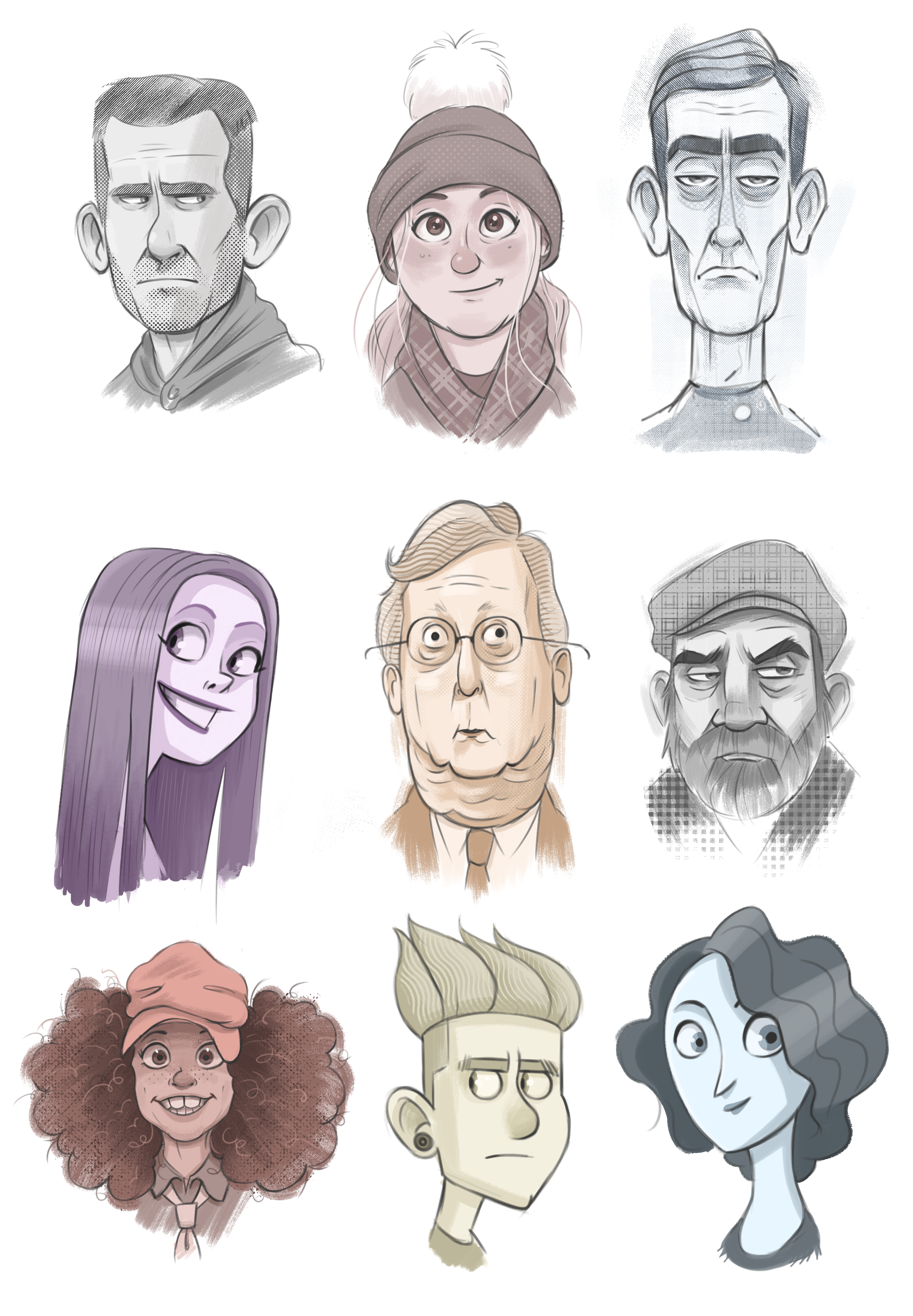 2998x4320 Experimenting With Head Shapes, Styles And Brushes Drawing