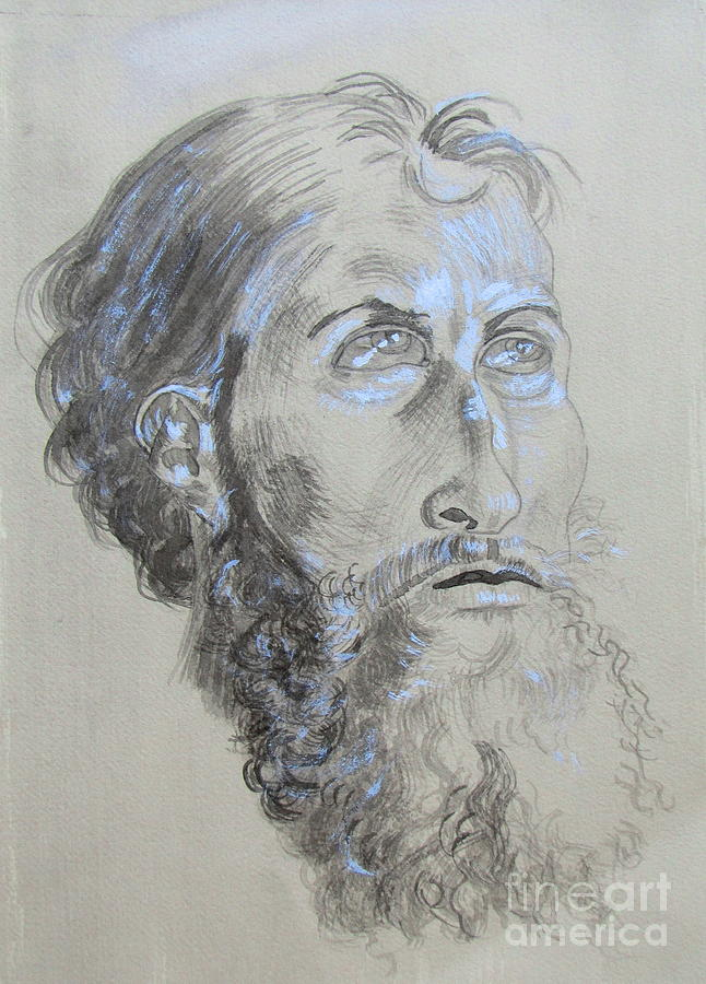 646x900 Head Study Of The Old Masters Drawing By Julie Coughlin