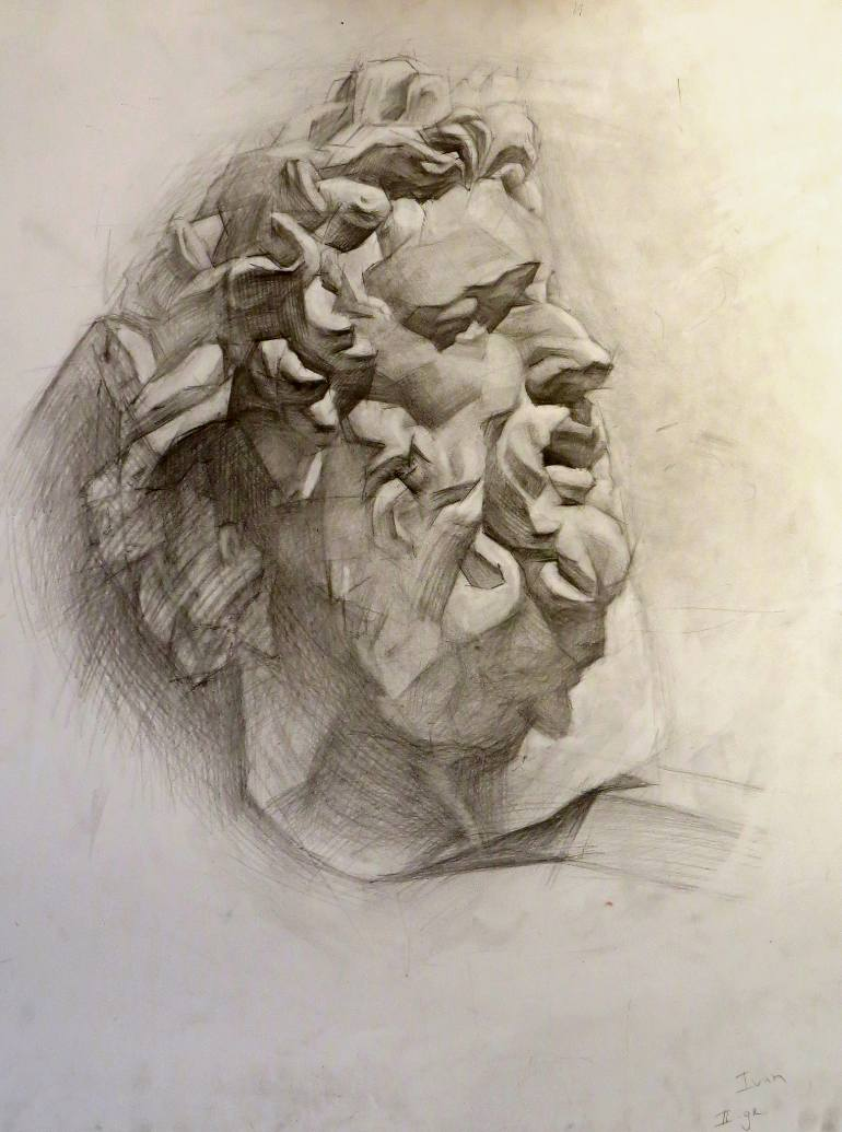 770x1035 Saatchi Art Academic Drawing Study. Head Of Laokoon. Drawing By