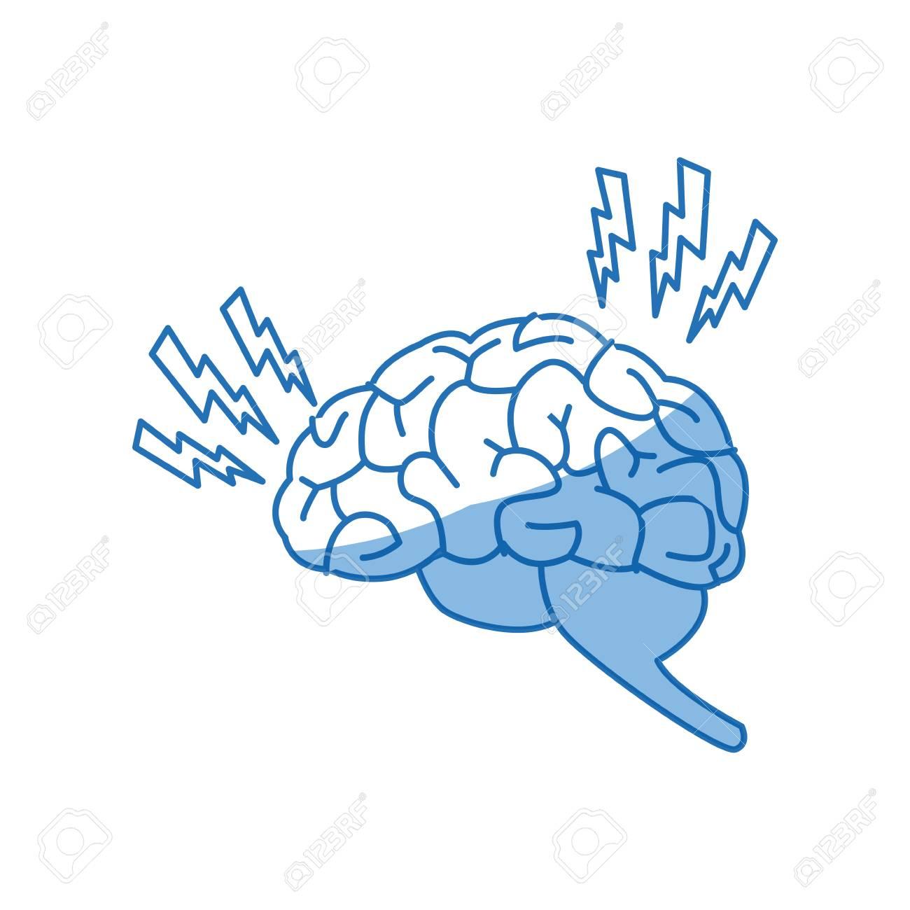 1300x1300 Drawing Brain Human Headache Pain Sick Organ Vector Illustration