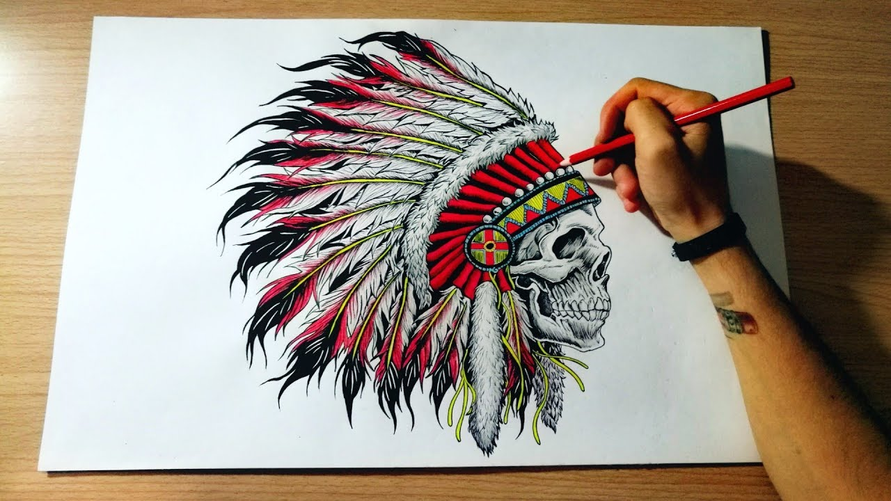 d2869ce6b 1280x720 Drawing Skull Indian Native American Headdress (Disegno Grande