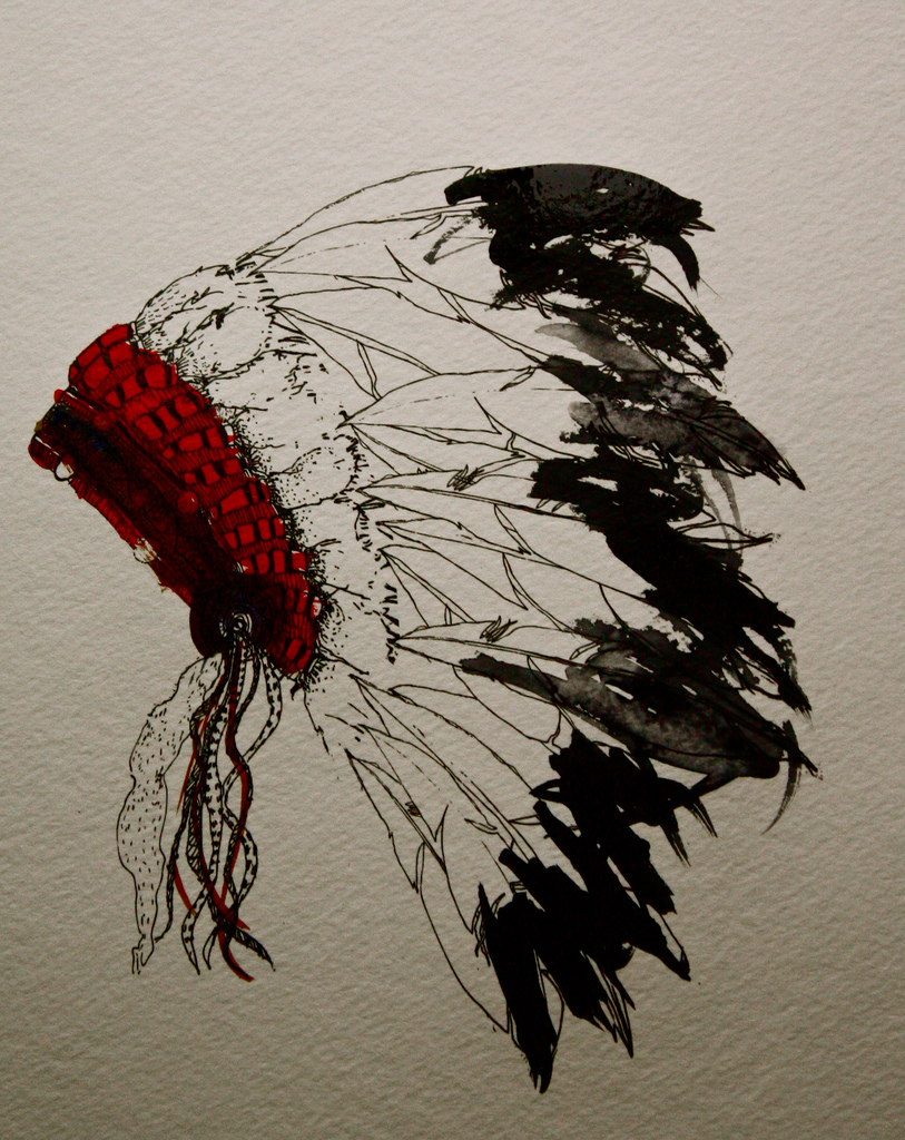 813x1024 Headdress Test A Pen Drawing Printed On Water Color Paper