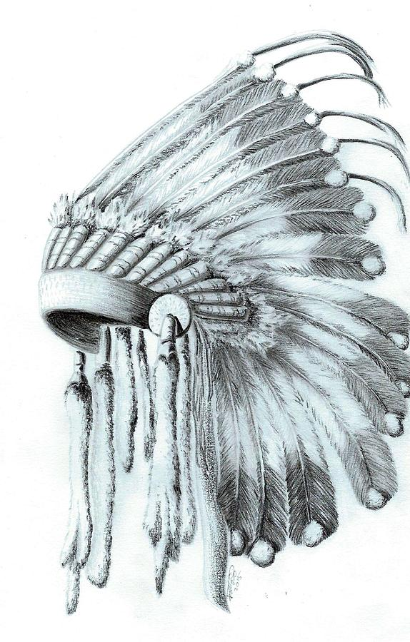 574x900 Native American Headdress Drawing By Jennifer Schimmrich