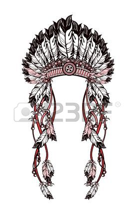 269x450 Set Of Hand Drawing Ink Black And White Indian Headdress. Vector