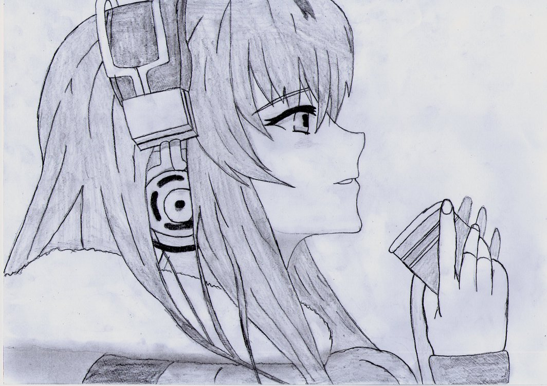 1064x750 Headphone Anime Girl Drawing By 1dragonwarrior1