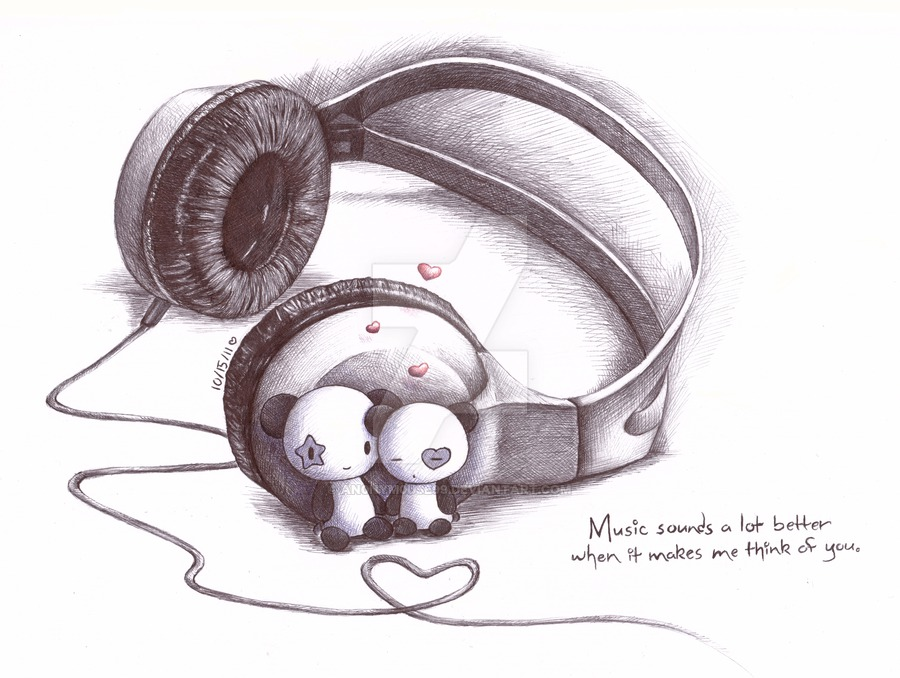 900x678 Pandas And Headphones By An0nym0use99