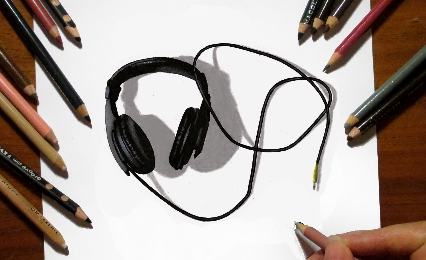 1664x1015 Time Lapse 3d Drawing Headphones