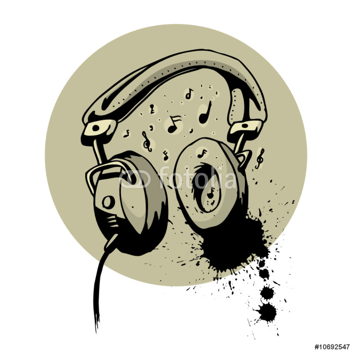 700x700 Headphone Drawing Vector Wall Mural We Live To Change