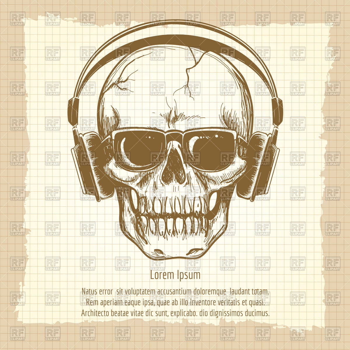 1200x1200 Drawing Skull Sketch With Headphones Vintage Style Royalty Free
