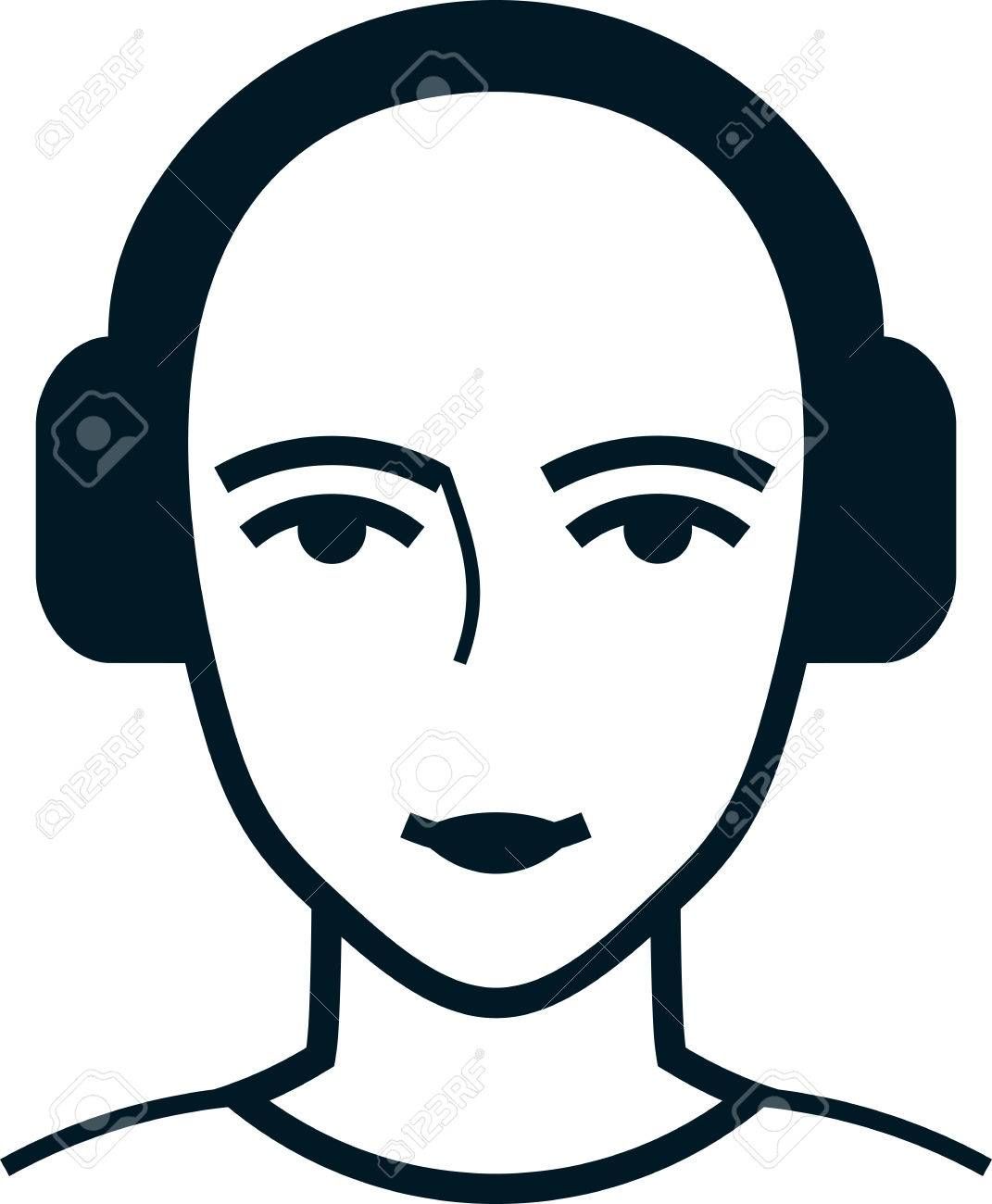 1071x1300 Head In Headphones Vector Simple Illustration Drawing Isolated